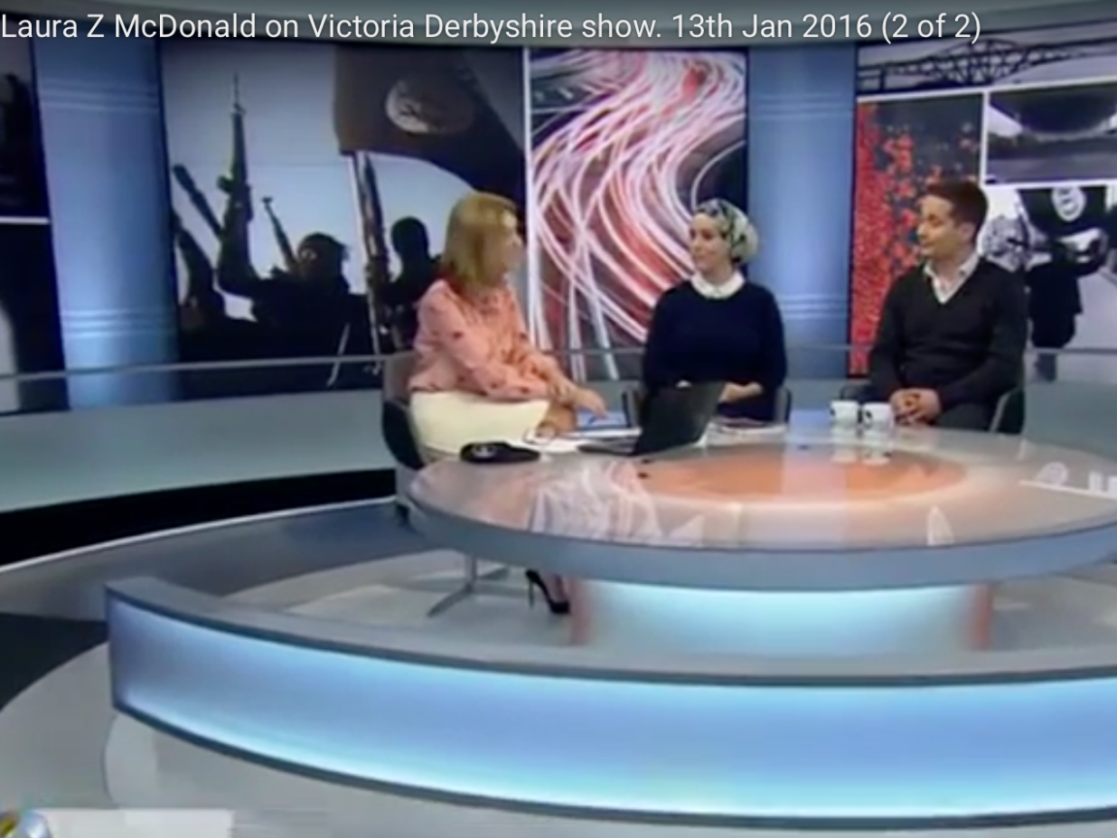 Laura Zahra McDonald, BBC 1, Victoria Derbyshire show. 13th Jan 2016 (2 of 2)
